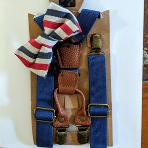 Other - Blue Suspenders w/ Red White Blue Bow Tie NWT